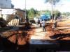 Obra pública tractor en calle